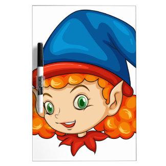 An elf wearing a blue hat dry erase boards