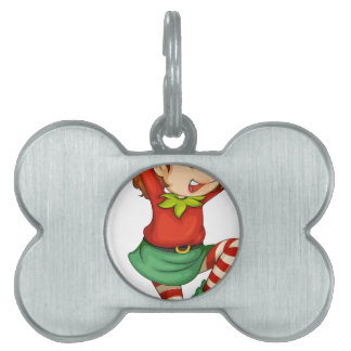 An elf with a gift above his head pet ID tags