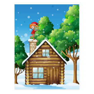An elf with a gift standing above the house postcard