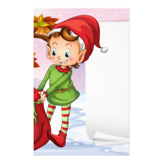 An empty paper beside the elf stationery design