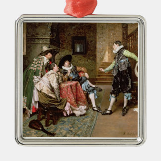 An Engaging Tale, 1894 (oil on panel) Silver-Colored Square Decoration