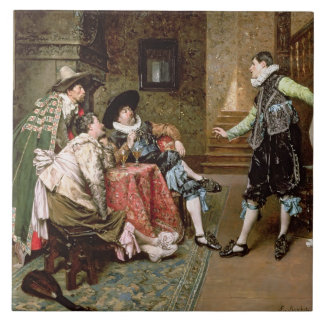 An Engaging Tale, 1894 (oil on panel) Tile