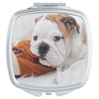 An English Bulldog Puppy Playing With A Bulldog Compact Mirror