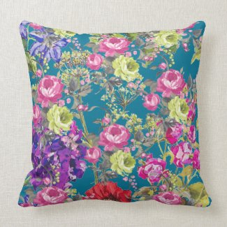 An English Cottage Garden Throw Pillow