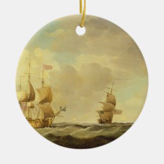 An English Flagship Under Easy Sail in a Moderate Round Ceramic Decoration