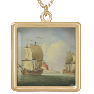 An English Sloop and a Frigate in a Light Breeze ( Gold Plated Necklace