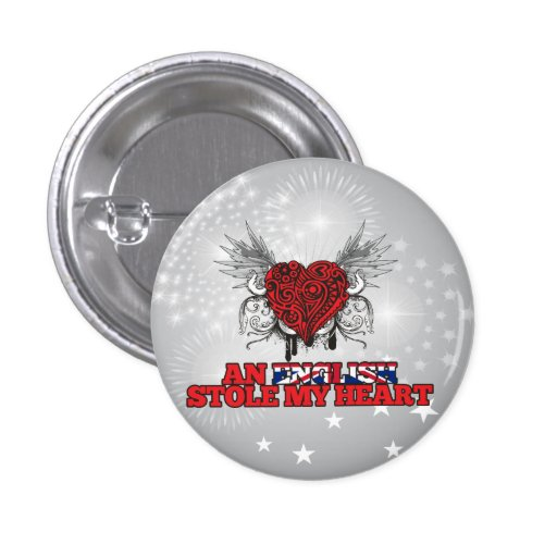 An English Stole my Heart Pinback Buttons