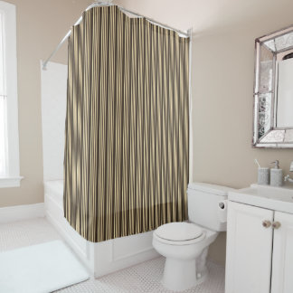 An Espresso Dark Brown With Cream Stripe Shower Curtain