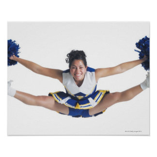 an ethnic teenage female cheerleader jumps high poster