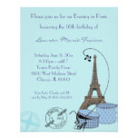 An Evening in Paris Blue Themed Party Invitation