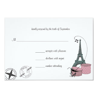 An Evening In Paris Custom Background RSVP card 9 Cm X 13 Cm Invitation Card