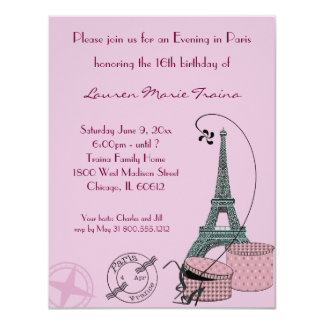 An Evening in Paris Dusty Rose Party Invitation