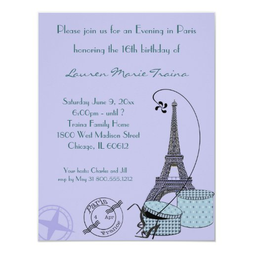 An Evening in Paris Purple Themed Party Invitation