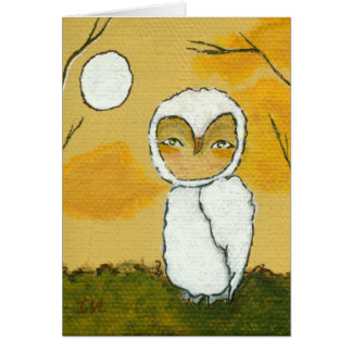 An Evening Stroll Whimsical Woodland White Owl Art Card