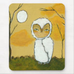 An Evening Stroll Whimsical Woodland White Owl Art Mouse Pad
