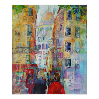 An Evening Walk to Sacre Coeur Poster