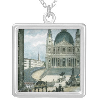 An exact representation of the grand funeral car silver plated necklace