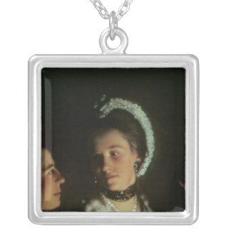 An Experiment on a Bird in the Air Pump, 1768 Silver Plated Necklace