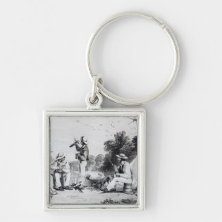 An exploring party key chains