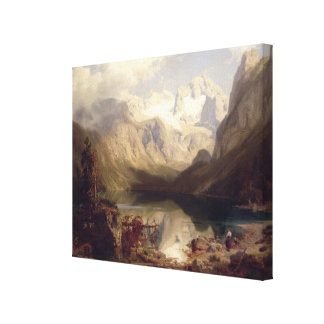 An Extensive Alpine Lake Landscape, 1862 (oil on c Canvas Print