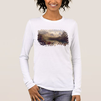 An Extensive Alpine Lake Landscape, 1862 (oil on c Long Sleeve T-Shirt