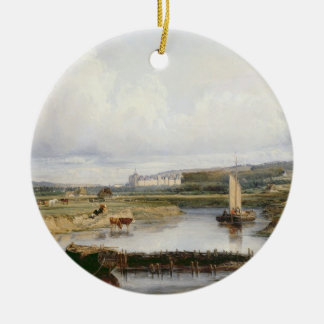 An Extensive River Landscape with a View of the Ch Christmas Ornament
