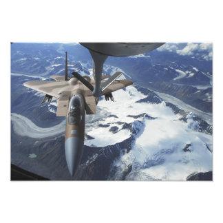 An F-15C Eagle aircraft sits behind a KC-135R Photo Print