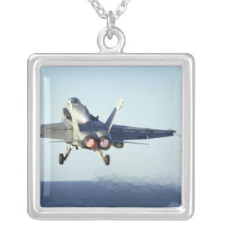 An F/A-18C Hornet launches from the flight deck Silver Plated Necklace