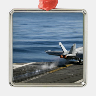 An F/A-18E Super Hornet Silver-Colored Square Decoration