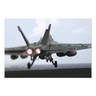 An F/A-18E Super Hornet launches Photo Print