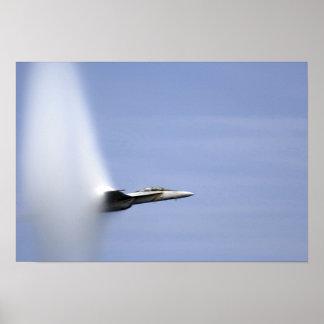 An F/A-18E Super Hornet reaches the speed of so Poster