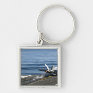 An F/A-18E Super Hornet Silver-Colored Square Key Ring
