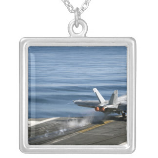 An F/A-18E Super Hornet Silver Plated Necklace