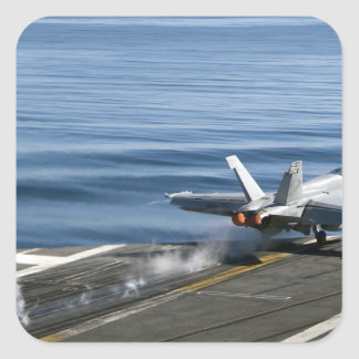 An F/A-18E Super Hornet Square Sticker