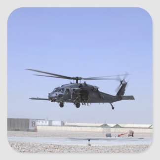 An HH-60G Pave Hawk taking off from Camp Bastio Square Sticker
