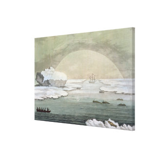 An iced-in British whaleboat is liberated by the s Canvas Print