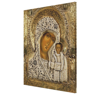 An icon showing the Virgin of Kazan Stretched Canvas Print