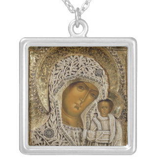 An icon showing the Virgin of Kazan Square Pendant Necklace