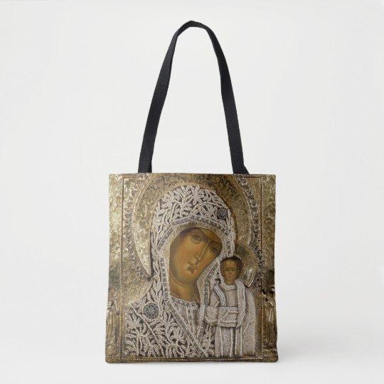 An icon showing the Virgin of Kazan Tote Bag