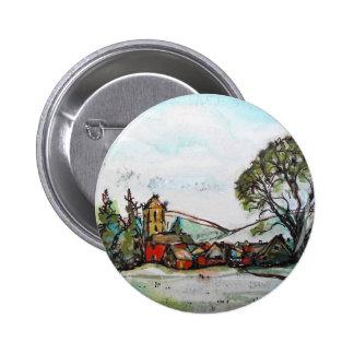 An Idyllic British Village sketch 6 Cm Round Badge