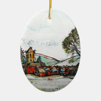 An Idyllic British Village sketch Ceramic Oval Decoration