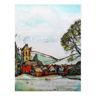 An Idyllic British Village sketch Postcard