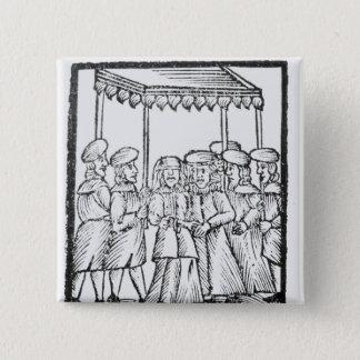 An illustration of a Jewish wedding 15 Cm Square Badge