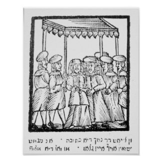 An illustration of a Jewish wedding Poster