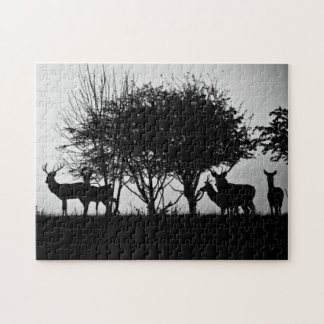 An image of some deer in the morning mist jigsaw puzzle
