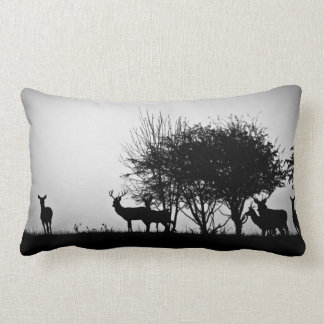 An image of some deer in the morning mist lumbar cushion