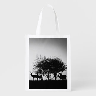 An image of some deer in the morning mist reusable grocery bag