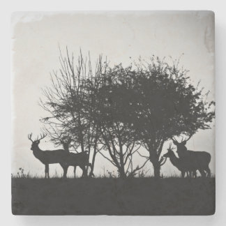 An image of some deer in the morning mist stone coaster