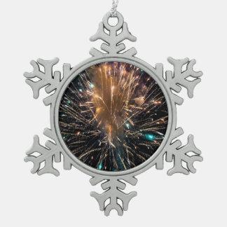 An Independence Day Fireworks Starburst Snowflake Pewter Christmas Ornament