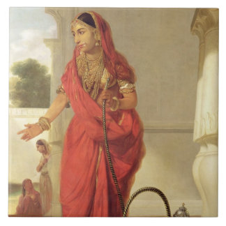 An Indian Dancing Girl with a Hookah, 1772 (oil on Large Square Tile